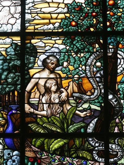 Stained Glass of Adam and Eve in the Garden of Eden, Vienna, Austria, Europe-Godong-Photographic Print