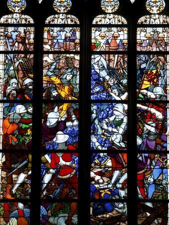 Stained Glass of Joan of Arc in Sainte-Croix Cathedral, Orleans, Loiret, France, Europe--Photographic Print