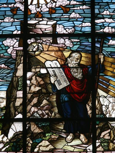 Stained Glass of Moses Holding the Tablets of the Law, Vienna, Austria, Europe-Godong-Photographic Print