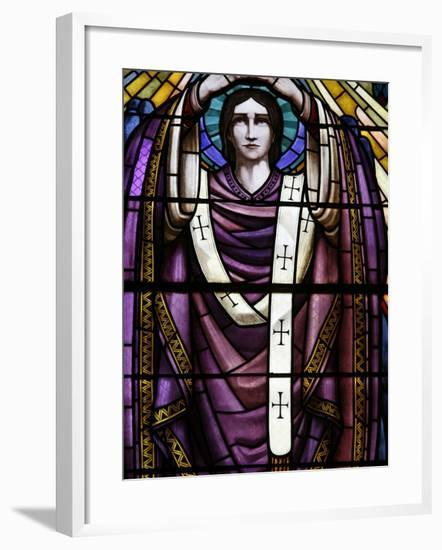 Stained Glass of St. John, Saint-Pothin Church, Lyon, Rhone, France, Europe-Godong-Framed Photographic Print