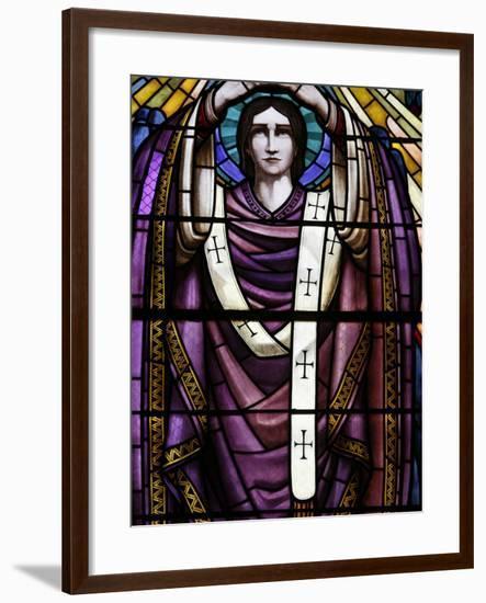 Stained Glass of St. John, Saint-Pothin Church, Lyon, Rhone, France, Europe-Godong-Framed Photographic Print