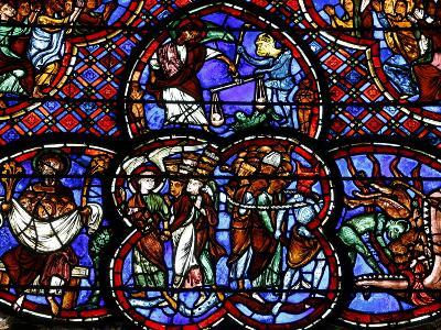 Stained Glass of the Last Judgment in Bourges Cathedral, Bourges, Cher, France, Europe--Photographic Print