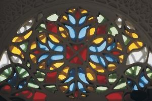 Stained Glass on a Window of a Palace, Rock Palace, Dar Al-Hajar, Wadi Dhahr, Yemen