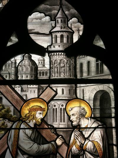 Stained Glass Window Depicting Jesus and St. Peter, Notre Dame De Beaune Church, Burgundy, France-Godong-Photographic Print