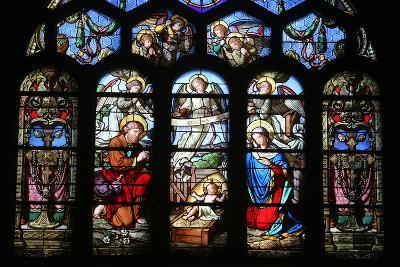 Stained Glass Window Depicting the Nativity, St. Eustache Church, Paris, France, Europe-Godong-Photographic Print