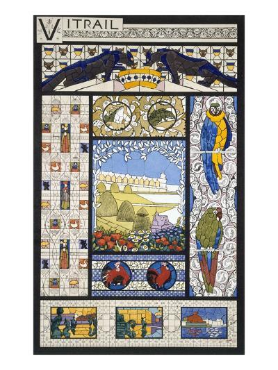 Stained Glass Window Designs, from 'Decorative Sketches', C.1895 (Colour Litho)-Rene Binet-Giclee Print