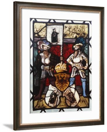 Stained-Glass Window from Chateau De Chabans, Saint-Leon-Sur-Vezere, Aquitaine, France--Framed Giclee Print