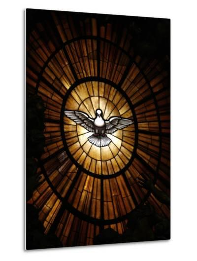 Stained Glass Window in St. Peter's Basilica of Holy Spirit Dove Symbol, Vatican, Rome, Italy-Godong-Metal Print