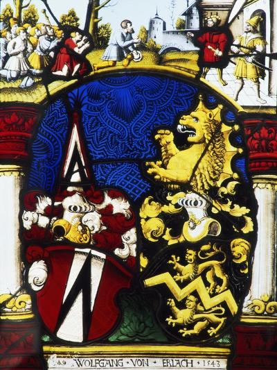 Stained-Glass Window in the Main Hall of Thun Castle, Canton of Bern, Detail, Switzerland--Giclee Print