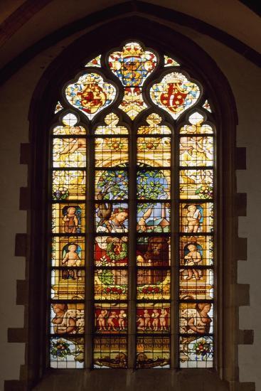 Stained-Glass Window of Apse of Saint Bavokerk Church or Grote Kerk, Haarlem, Netherlands--Giclee Print