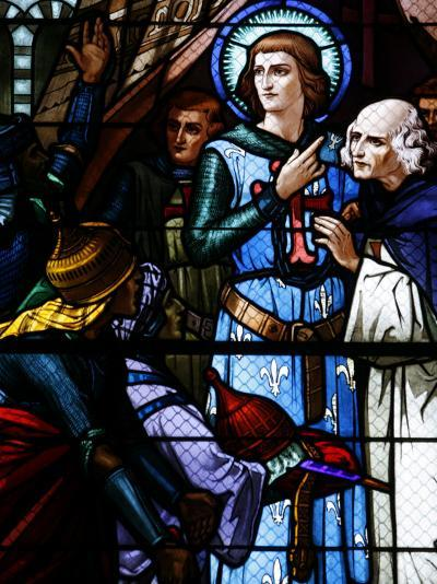 Stained Glass Window of Crusading St. Louis Meeting the Emir, St. Louis Church, Vittel, France-Godong-Photographic Print
