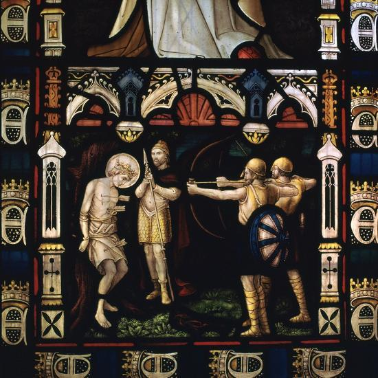 Stained glass window of St Edmund being martyred by Danes, 9th century. Artist: Unknown-Unknown-Giclee Print