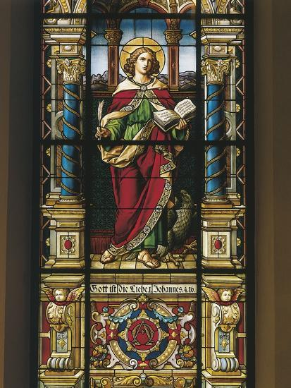 Stained Glass Window of St. John the Evangelist, Stockholm, Sweden--Giclee Print