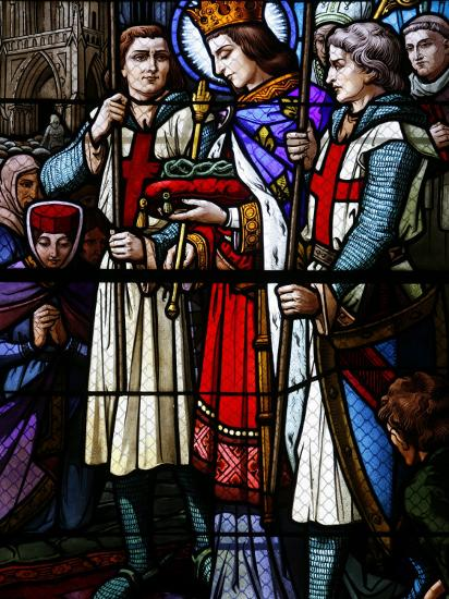 Stained Glass Window of St. Louis Holding the Crown of Thorns, St. Louis Church, Vosges, France-Godong-Photographic Print