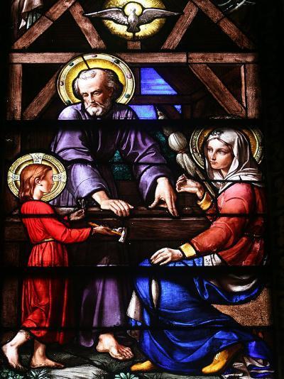 Stained Glass Window of the Holy Family, Our Lady of Geneva Basilica, Geneva. Switzerland, Europe-Godong-Photographic Print