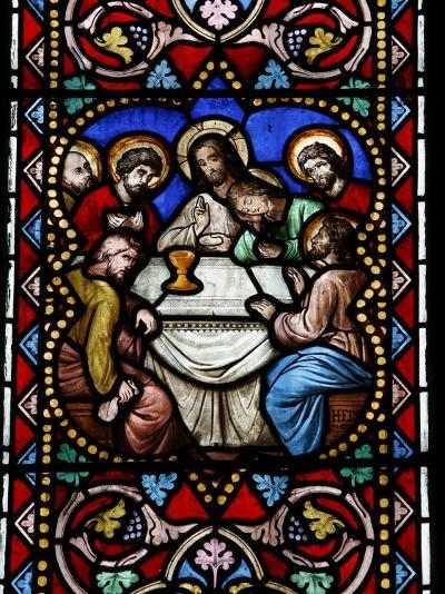 Stained Glass Window of the Last Supper, Saint-Samson Cathedra, Dol-De-Bretagne-Godong-Photographic Print
