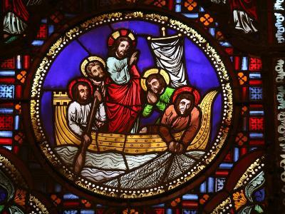 Stained Glass Window of the Miracle of Fishing, Lyon, Rhone, France, Europe-Godong-Photographic Print