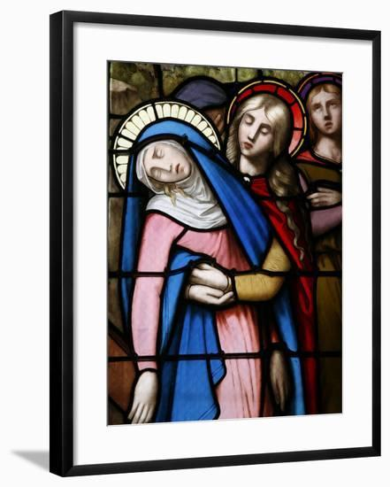 Stained Glass Window of Virgin Mary at Collegiale Notre-Dame Des Marais, Rhones-Alpes, France-Godong-Framed Photographic Print