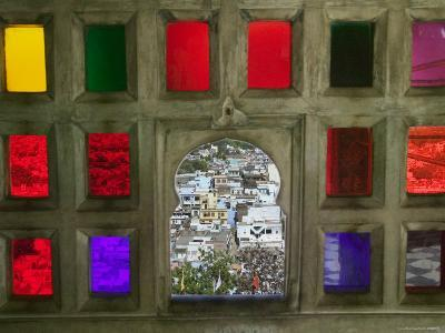 Stained Glass Window Panes in City Palace-Keren Su-Photographic Print