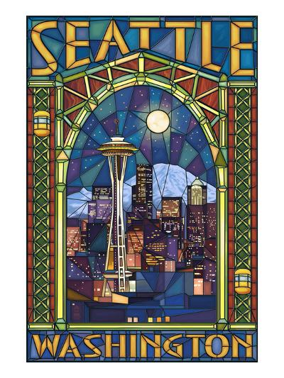 Stained Glass Window - Seattle, WA-Lantern Press-Art Print