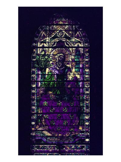 Stained-Glass Window with Figure of Saint Martyr Enthroned-Parmigianino-Giclee Print
