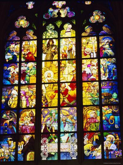 Stained Glass Windows, St. Vitus Cathedral, Prague, Czech Republic, Europe-Nigel Francis-Photographic Print