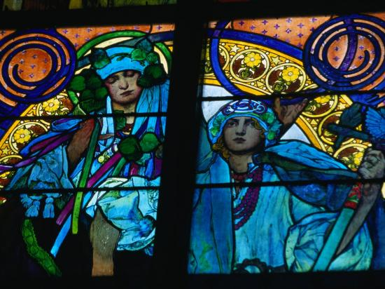 Stained-Glass Windows with Art Nouveau Mucha Designs in St. Vitus Cathedral, Prague, Czech Republic-Richard Nebesky-Photographic Print