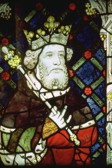 Stained thirteenth century glass image of King Cnut (985/95-1035). Artist: Unknown-Unknown-Giclee Print