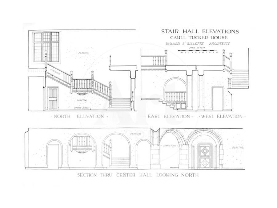 Stair hall elevations - house of Carll Tucker, Mount Kisco, New York, 1925  Giclee Print by Walker and Gillette | Art com