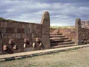 Staircase and Monoliths in the Kalasaya Temple, in Tiahuanacu or Tiwanaku