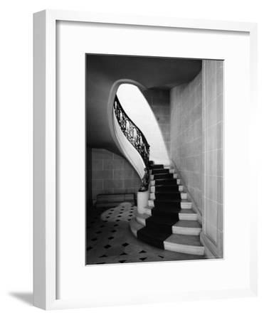 Staircase Inside Mansion Named Carolands, Built by Mrs. Harriet Pullman Carolan Schermerhorn-Nat Farbman-Framed Premium Photographic Print