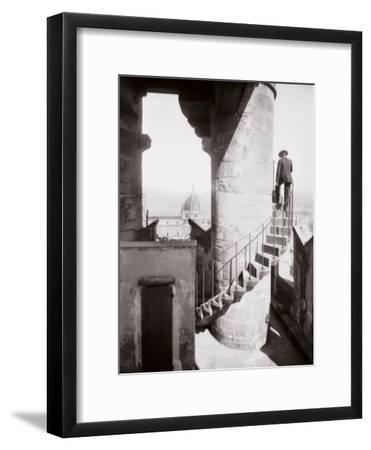 Staircase of the Tower of Palazzo Vecchio in Florence. in the Background the Dome of the Cathedral