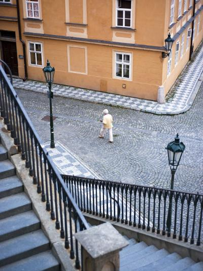 Stairs and Woman Walking, from Charles Bridge-Christopher Groenhout-Photographic Print