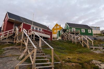 Stairs Lead to Cottages Perched on Rocky Outcrops in an Arctic Village-Jason Edwards-Photographic Print