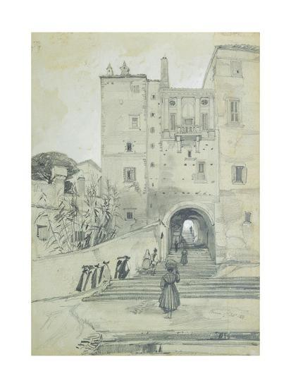 Stairs Leading to S. Pietro in Vincoli-Edward Lear-Giclee Print