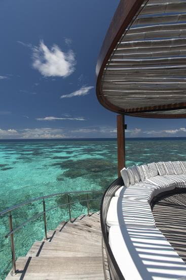 Stairs to the Beach and Sofa Overlooking the Ocean, Maldives, Indian Ocean-Sakis Papadopoulos-Photographic Print