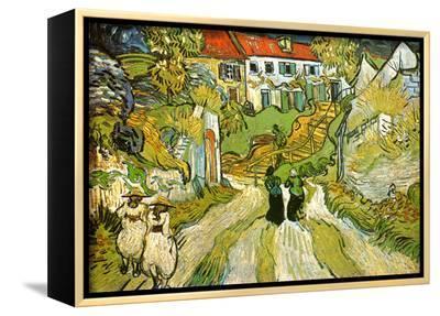 Stairway at Auvers-Vincent van Gogh-Framed Canvas Print