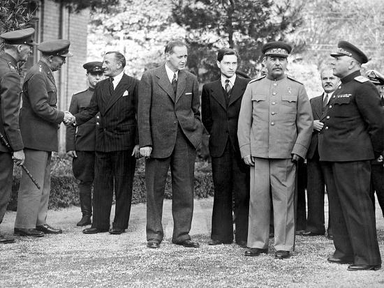 Stalin and Voroshilov at the Tehran Conference 1943--Giclee Print