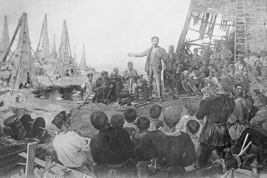 Stalin Haranguing Workers in Baku--Giclee Print