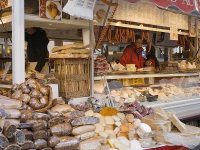 Stall Selling Cheese, Fruit Cake and Sausages at Christmas Market on Maxheinhardtplatz-Richard Nebesky-Photographic Print