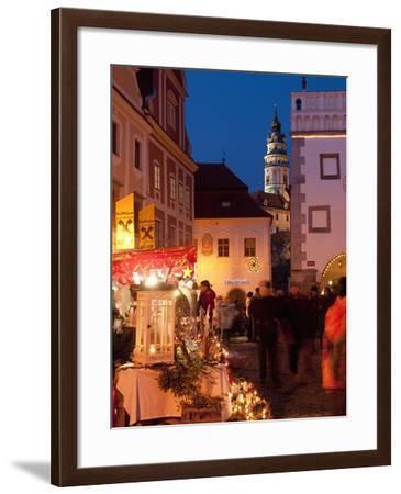 Stalls at Christmas Market With Renaissance Tower, Svornosti Square, Cesky Krumlov, Czech Republic-Richard Nebesky-Framed Photographic Print