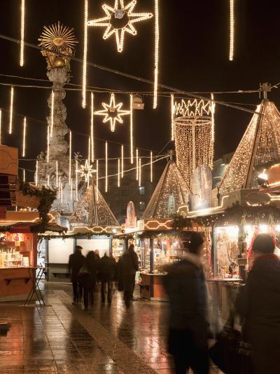 Stalls of Christmas Market, With Baroque Trinity Column in Background, Hauptplatz, Linz, Austria-Richard Nebesky-Photographic Print