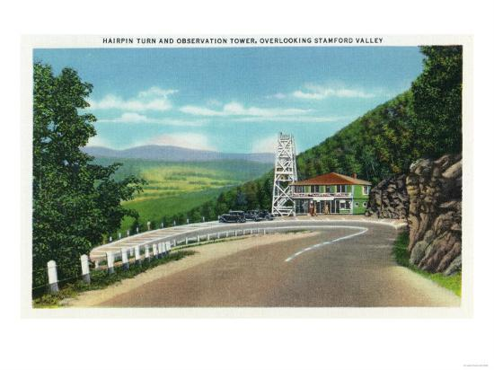 Stamford Valley, MA - Mohawk Trail Hairpin Turn and Observation Tower View-Lantern Press-Art Print