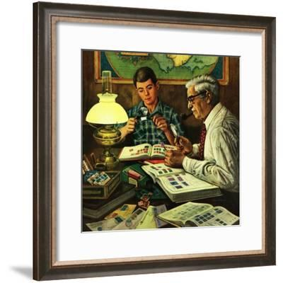 """Stamp Collecting"", February 27, 1954-Stevan Dohanos-Framed Giclee Print"