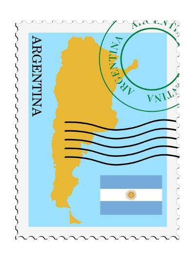 Stamp with Map and Flag of Argentina-Perysty-Art Print