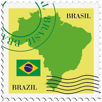 Stamp With Map And Flag Of Brazil-Perysty-Art Print