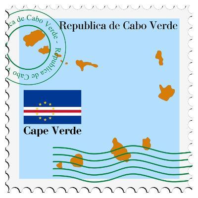 Stamp with Map and Flag of Cape Verde-Perysty-Art Print