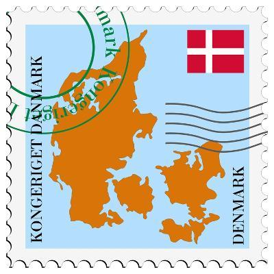 Stamp with Map and Flag of Denmark-Perysty-Art Print