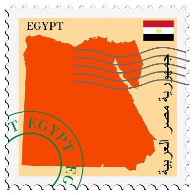 Stamp with Map and Flag of Egypt-Perysty-Art Print