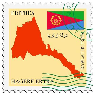 Stamp with Map and Flag of Eritrea-Perysty-Art Print